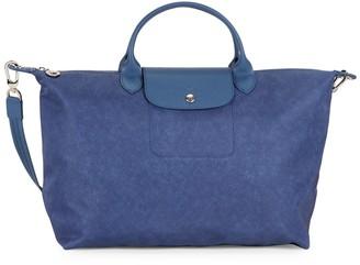 Longchamp Large Leather-Trimmed Top Handle Bag