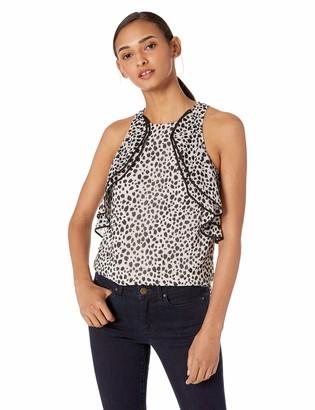 Halston Women's Sleeveless High-Neck Printed Top with Flounce