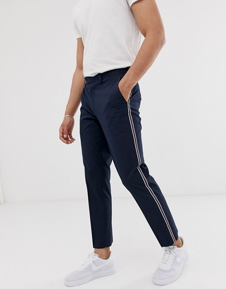 Burton Menswear slim trousers with side stripe in navy