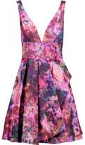 Marchesa Ruffled Embellished Metallic Jacquard Mini Dress