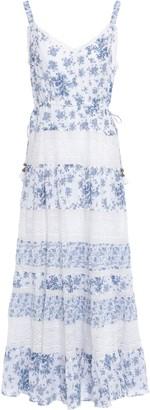 Love Sam Lace-paneled Floral-print Cotton-mousseline Maxi Dress