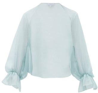 Luisa Beccaria Slit-sleeve Silk-crepe Cropped Bolero - Light Blue