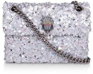 Kurt Geiger Womens London Silver Sequins Mini Kensington Fabric Bag - Silver
