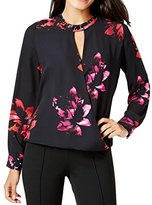 Vince Camuto Women's Long Sleeve Wrap Front Floral Blouse with Embellishment