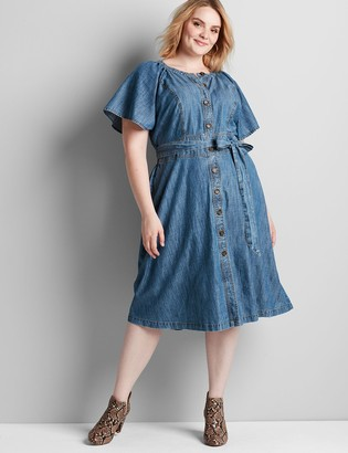 Lane Bryant Chambray Button-Front Fit & Flare Dress