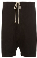 Rick Owens Mesh-overlay Dropped-crotch Linen Shorts