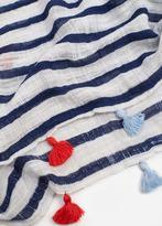 MANGO Striped Cotton Scarf