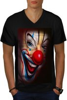 Creepy Horror Clown Scary Smile Freak Men L V-Neck T-shirt | Wellcoda
