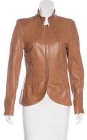 Elie Tahari Leather Stand Collar Jacket