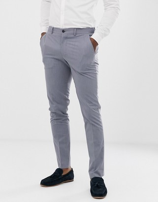 Selected slim fit suit trousers in light blue