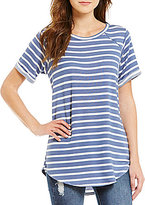 Moa Moa Striped Short-Sleeve Tunic Top