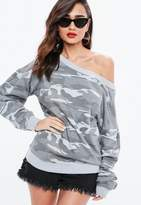 Missguided Gray Camo Print Off The Shoulder Sleeve Detail Sweatshirt