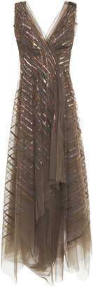 Brunello Cucinelli Asymmetric Wrap-effect Sequin-embellished Tulle Midi Dress