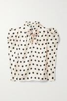 Thumbnail for your product : Johanna Ortiz + Net Sustain The Big Dream Polka-dot Satin Pussy-bow Blouse - Ecru