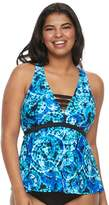 So Plus Size Mix and Match Tie-Dye Apron-Back Tankini Top