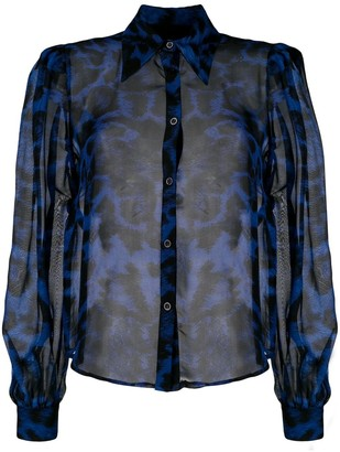 John Richmond Leopard-Print Silk Shirt