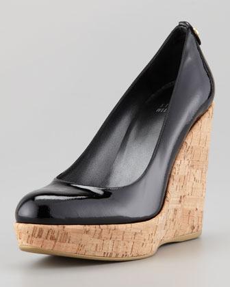 Stuart Weitzman Corkswoon Patent Leather Cork Wedge Heel