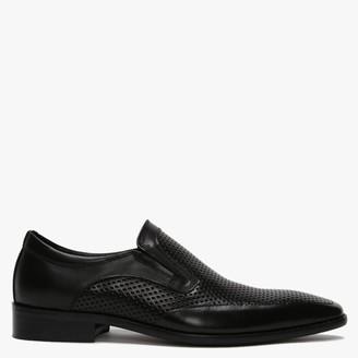 Daniel Xanthins Black Leather Laser Cut Loafers