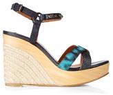 Lanvin Embellished leather wedge sandals