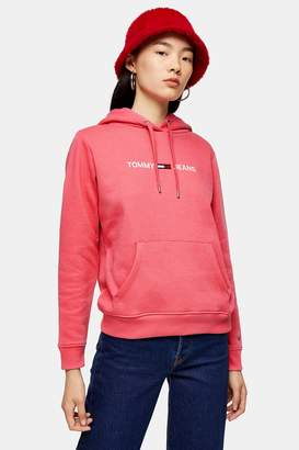 Tommy Hilfiger Womens Rose Pink Clean Logo Hoodie By Tommy Jeans - Rose