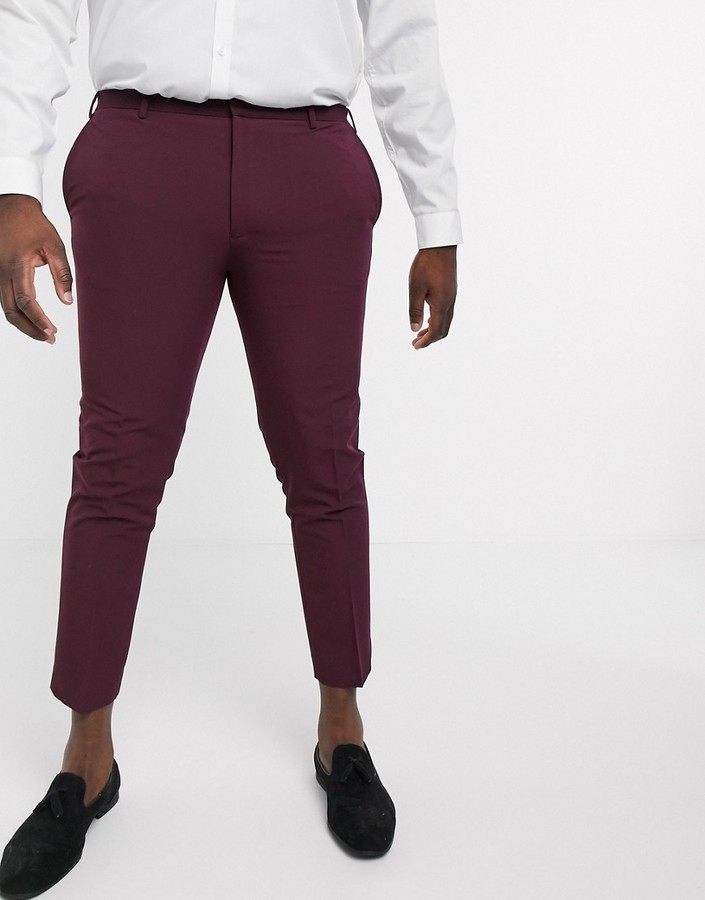 Thumbnail for your product : Burton Menswear Big & Tall skinny suit trousers in burgundy