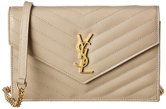 Saint Laurent Monogram Matelasse Leather Envelope Wallet On Chain