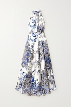 Raquel Diniz Giovanna Printed Silk-satin Halterneck Maxi Dress - Blue