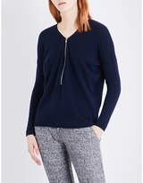 The Kooples Sport Zip-detail wool and cashmere-blend jumper