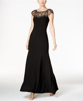 Xscape Evenings Petite Beaded Cap-Sleeve Gown