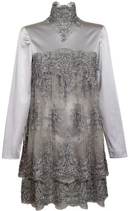 Jiri Kalfar Silver Short Silk Dress With Embroidery
