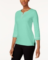 Karen Scott Petite Cotton Studded Split-Neck Top, Created for Macy's