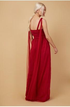 Little Mistress Bridesmaid Eden Red Knot-Front Maxi Dress