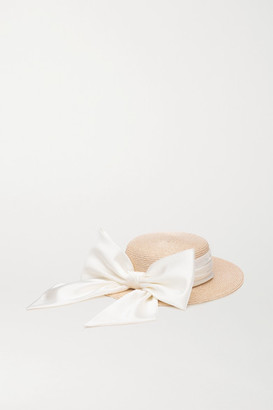 Eugenia Kim Brigette Satin-trimmed Straw Hat - Sand