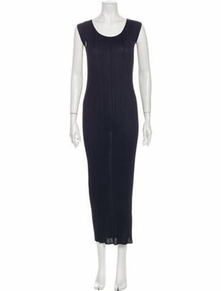 Pleats Please Issey Miyake Scoop Neck Midi Length Dress Black