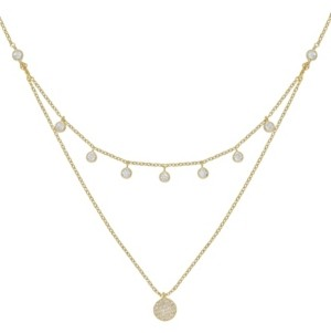 Ettika Double Layered Gold Chain Crystal Disc Necklace