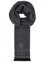 Corneliani Grey Wool Jacquard Scarf