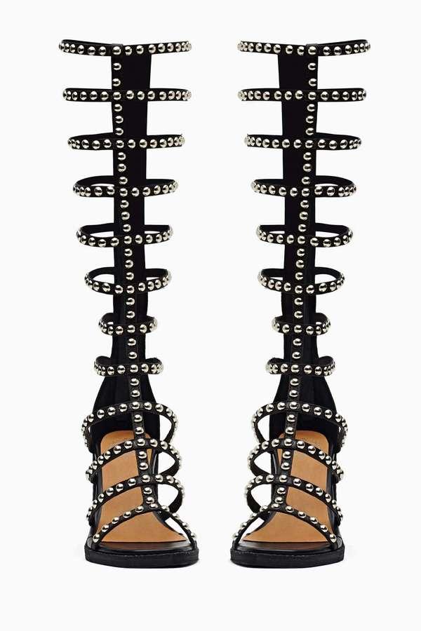 Nasty Gal Jeffrey Campbell La Cage Gladiator Sandal - Studded Black