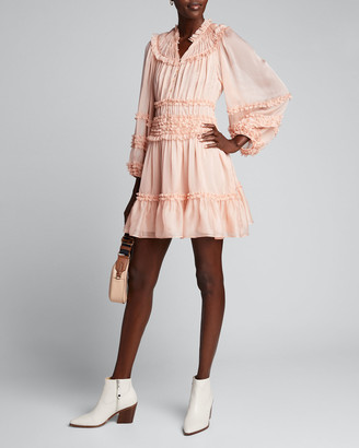 Ulla Johnson Abilene Yoked Ruffle Button-Front Dress