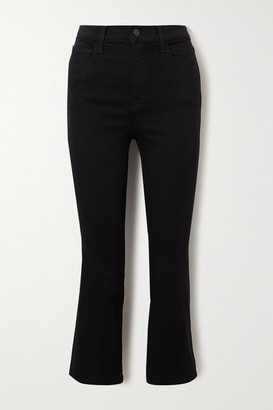J Brand Franky Cropped High-rise Bootcut Jeans - Black