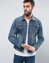 Wrangler Regular Fit Denim Jacket Blue Shadow Rip and Repair