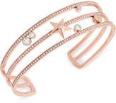 Michael Kors Rose Gold-Tone Stainless Steel Crystal & Star Triple-Row Cuff Bracelet
