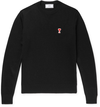 Ami Logo-Appliqued Merino Wool Sweater
