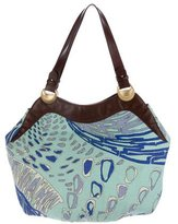 Emilio Pucci Leather-Trimmed Woven Hobo