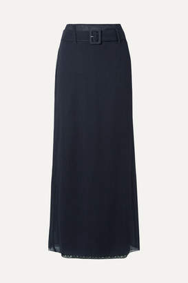 Prada Crinkled Silk-chiffon Maxi Skirt - Navy