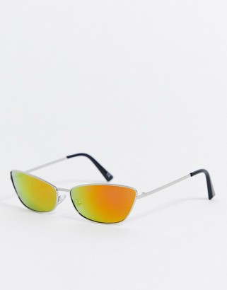 ASOS DESIGN rave fashion glasses in silver metal with mirror lens