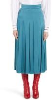 Fendi Women's Pleated Satin Cady Midi Skirt