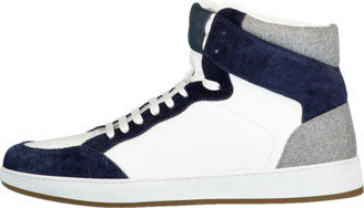 Eleventy Mix Media High Top Sneakers