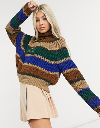 Minga London cropped turtle neck chunky knit sweater with teddy bear embroidery in stripe
