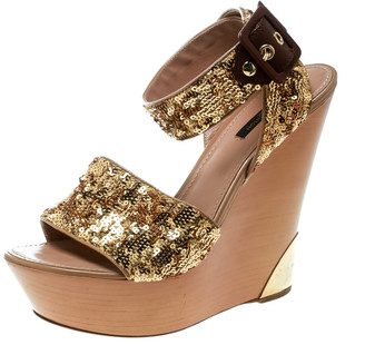 Louis Vuitton Metallic Gold Sequin Embellished Ankle Wrap Wedge Sandals Size 40