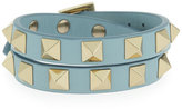 Valentino Rockstud Double-Wrap Leather Bracelet